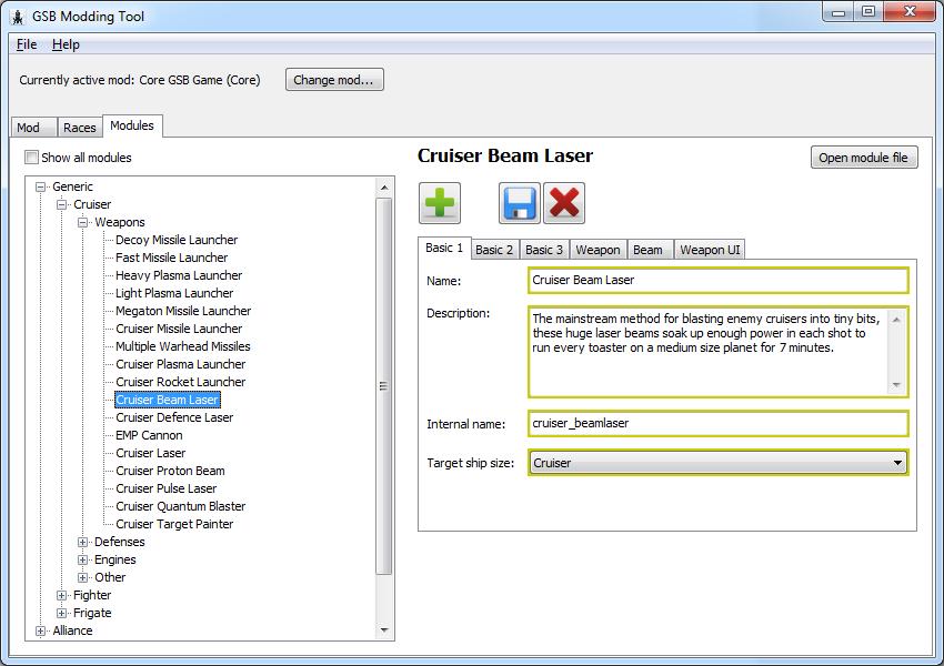 Screenshot of GSBEdit during development.